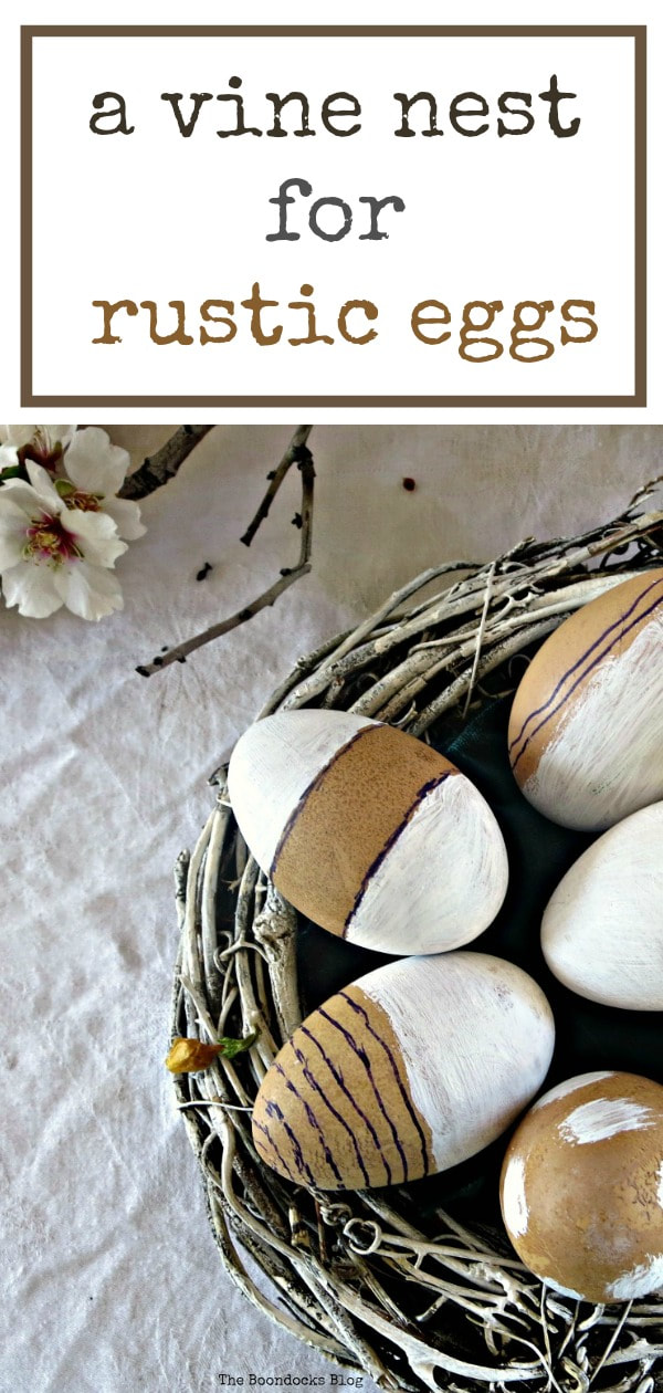 Using a vine wreath to create a nest for my rustic eggs #Eastereggs #RusticNest #EasterWreath #SpringCraft #Easycraft #Eastercraft #vinewreath #paintedwreath #SimpleEastercraft #eastercenterpiece A nest for my rustic eggs www.theboondocksblog.com