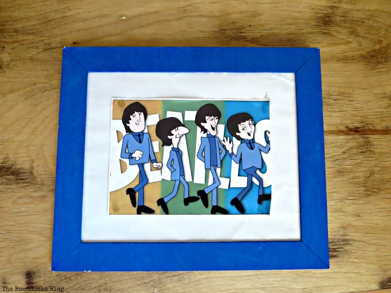 An old picture frame in blue before, The Stars and Moon www.theboondocksblog.com