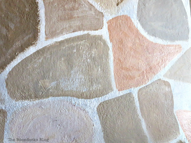 Detail of stones of fireplace, The Long Overdue Fireplace makeover www.theboondocksblog.com