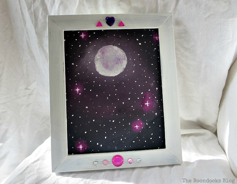 The painting inserted into the frame, The Stars and Moon www.theboondocksblog.com