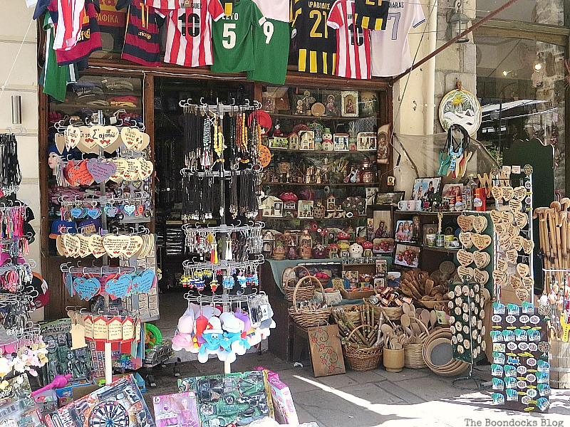 Souvenier shop, Shopping in Greece - Int'l Bloggers Club Challenge www.theboondocksblog.com