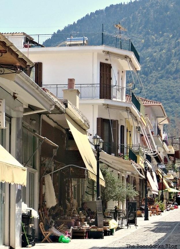 main street in Greek town Shopping in Greece - Int'l Bloggers Club Challenge www.theboondocksblog.com