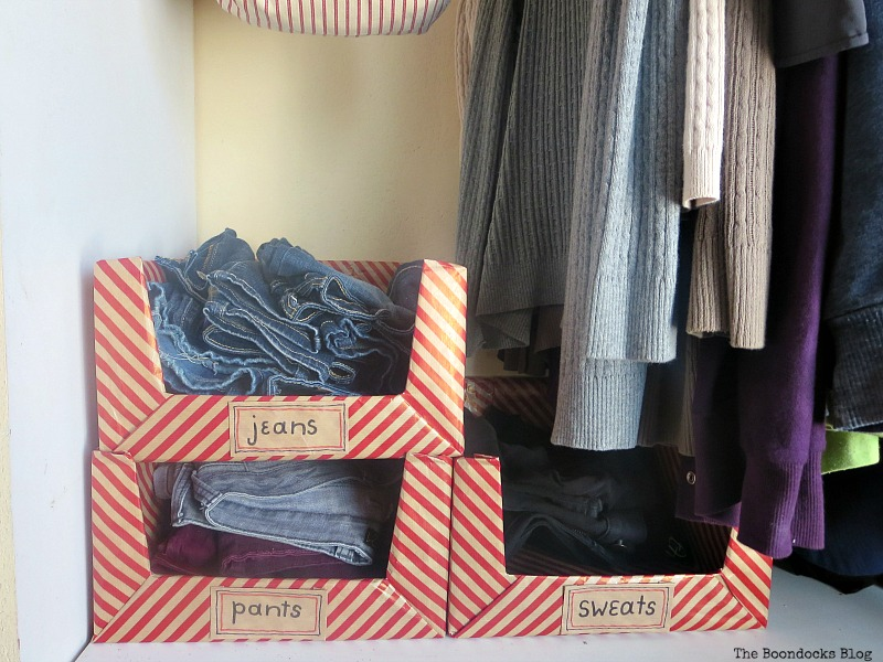 Pretty Boxes for Organizing Clothes in the Closet www.theboondocksblog.com