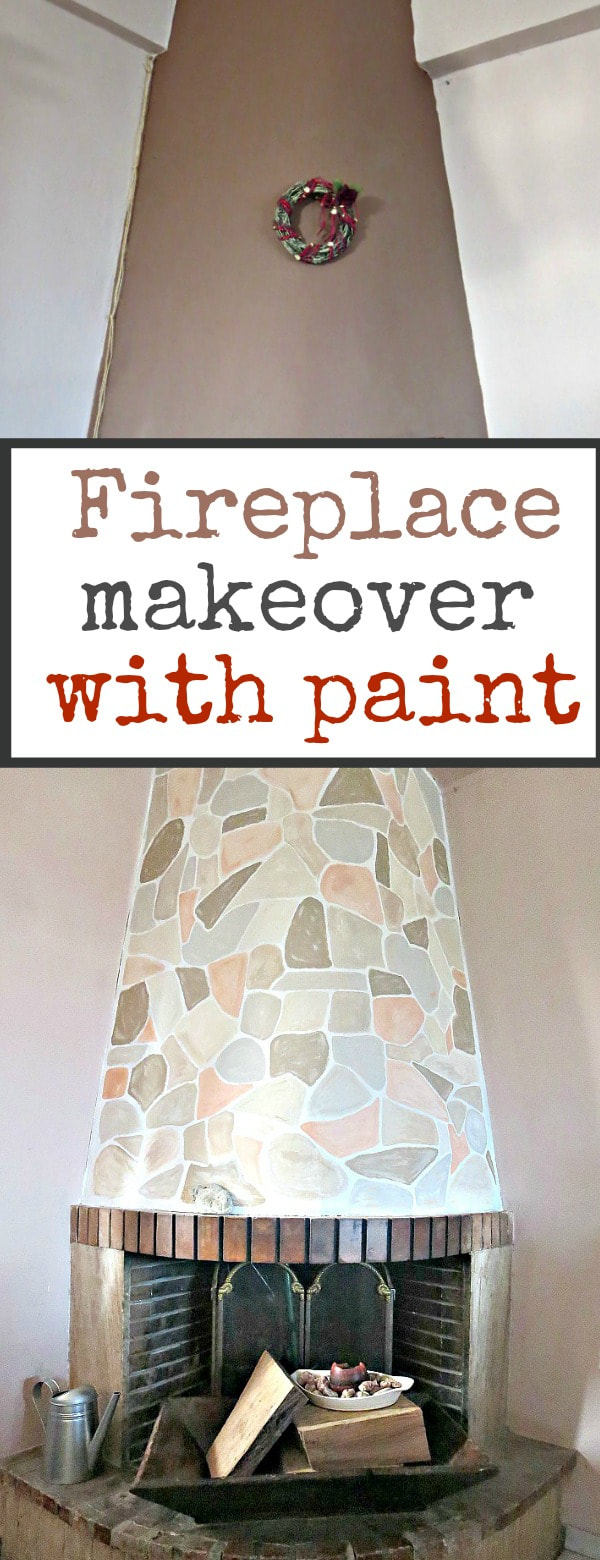 Painting the fireplace to look like stone, #fireplace #fireplacemakeover #thepowerofpaint #paintedfireplace #DIYproject #paintrelated The Long Overdue Fireplace makeover www.theboondocksblog.com