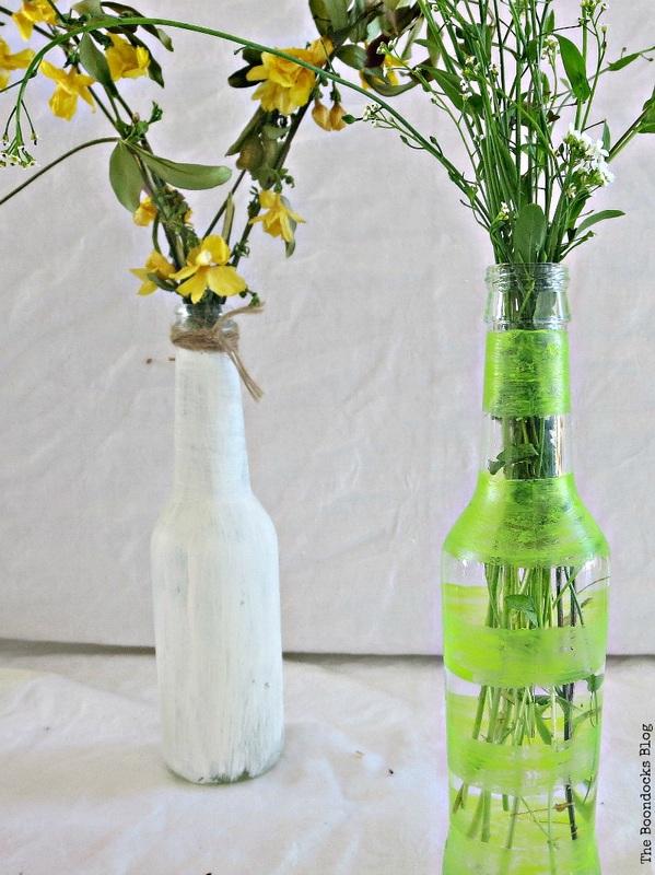 Repurposed bottles as vases Last Minute DIY Mother's Day Gifts www.theboondocksblog.com