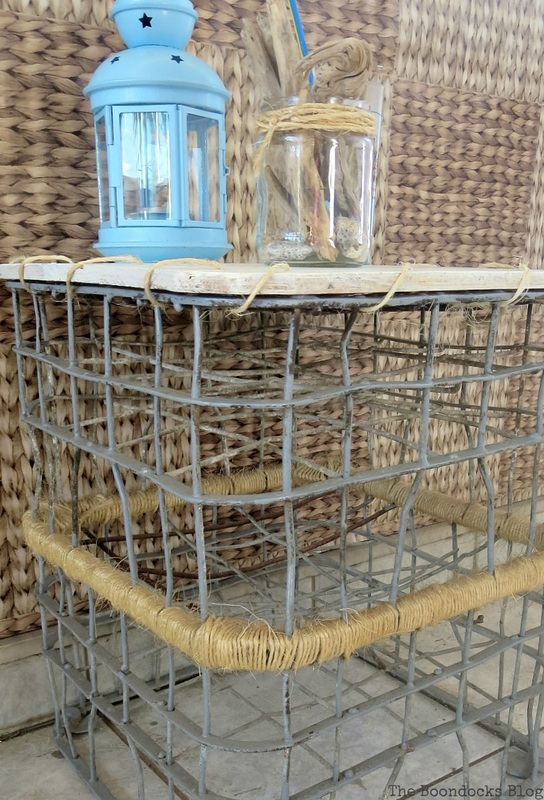 A wire milk crate table.