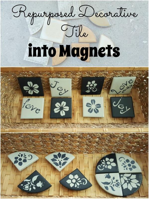 Repurposing Tiles into magnets The repurposing Junkie Last Minute DIY Mother's Day Gifts www.theboondocksblog.com