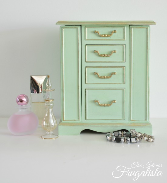 Mint Jewelry Box makeover The Interior Frugalista Last Minute DIY Mother's Day Gifts www.theboondocksblog.com