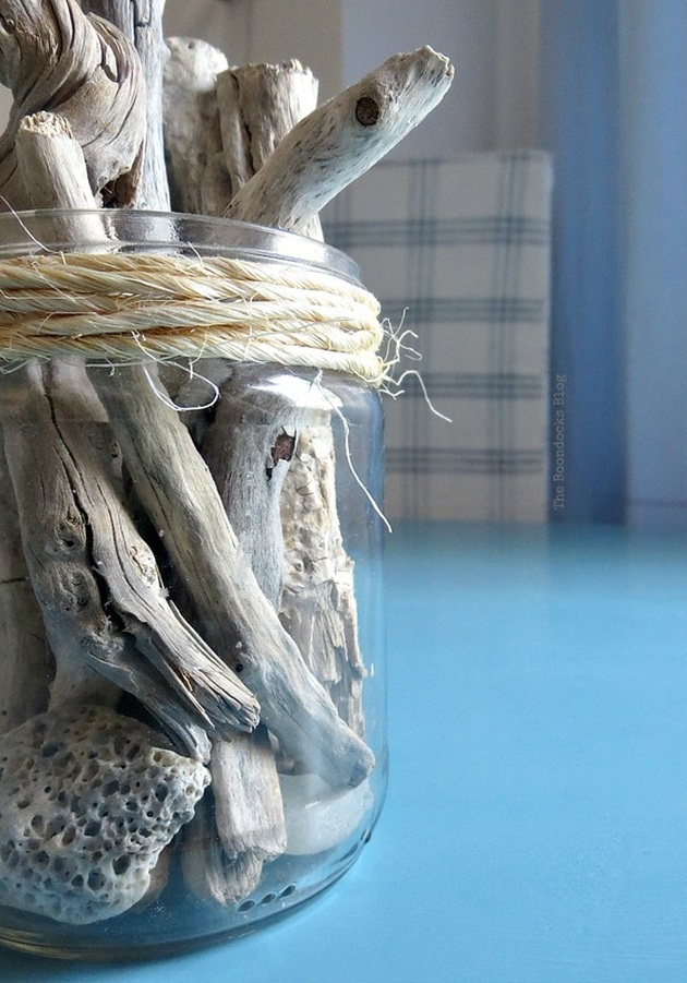 Detail of driftwood in glass jar on the table, Greek Beach Table - Int'l Bloggers Club Challenge theboodocksblog.com