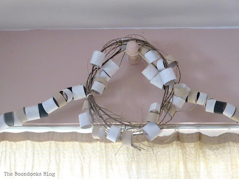 A wreath made with  paper rolls, My Irrational Obsession with Paper Rolls www.theboondocksblog.com