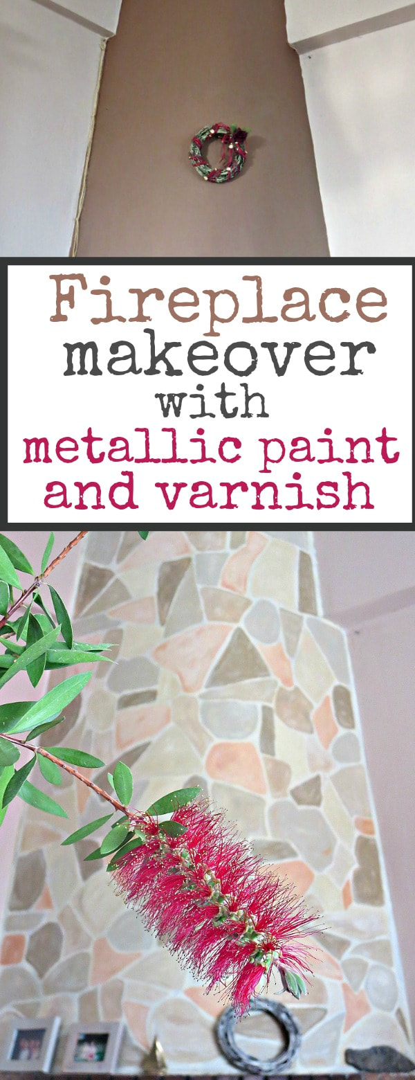 Makeover of a Fireplace with acrylic paint, metallic paint and varnish #fireplacemakeover #upcycle The Fireplace Makeover #fireplace #thepowerofpaint #paintrelated #paintedfireplace #varnishedfireplace #metallicpaint part 2 www.theboondocksblog.com