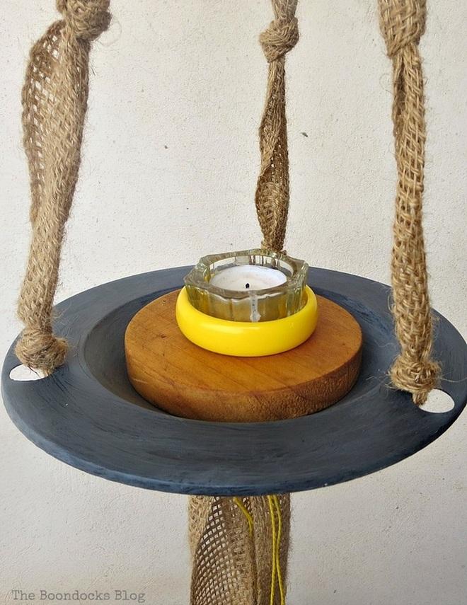 yellow bracelet with tea light holder, The Virsatile Hanging Saucer / www.theboondocksblog.com