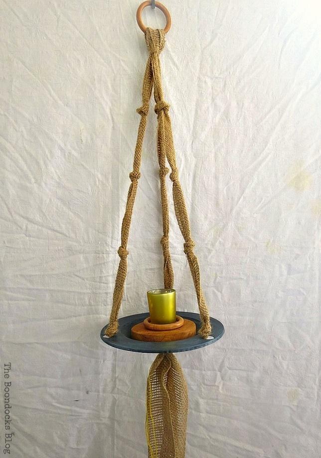 A yellow tealight holder, The Virsatile Hanging Saucer / www.theboondocksblog.com