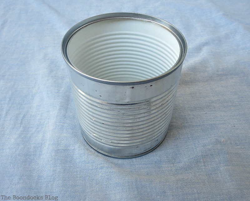 A tin can before, How to Repurpose cans instead of being overrun by them / www.theboondocksblog.com