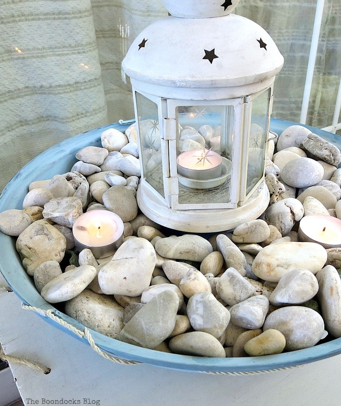 Lit tea lights, How to make a Nautical Lantern from a Grill - Int'l Bloggers Club Challenge www.theboondocksblog.com