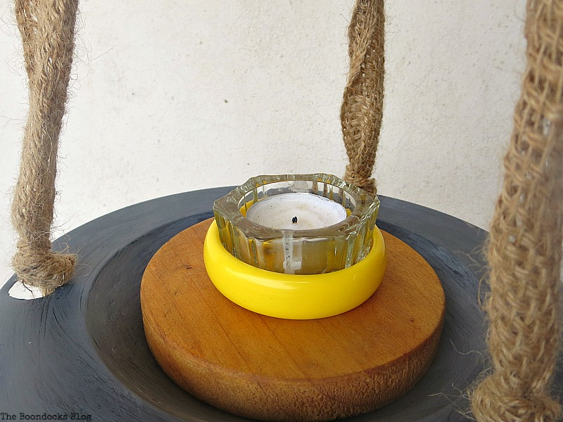 Tealight holder added, The Virsatile Hanging Saucer / www.theboondocksblog.com