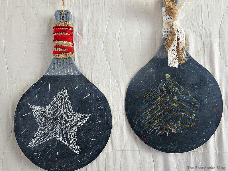 2 rackets with blackboard paint, Christmas in July - Repurposed Barbie Paddles www.theboondocksblog.com