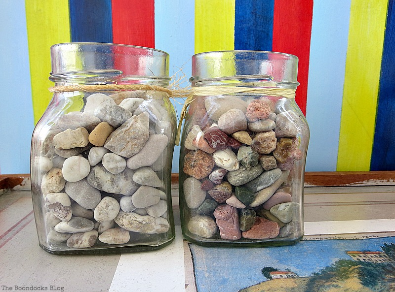 Two jars with pebbles, A Tour of the Balcony Part Two www.theboondocksblog.com