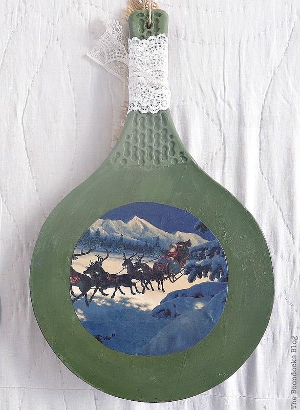 Racket repurposed into Christmas hanging ornament, Christmas in July - Repurposed Barbie Paddles www.theboondocksblog.com