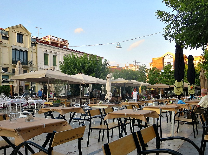 Cafes in the Town Square, Summer Activities in Greece Int'l bloggers Club Challenge theboodocksblog.com