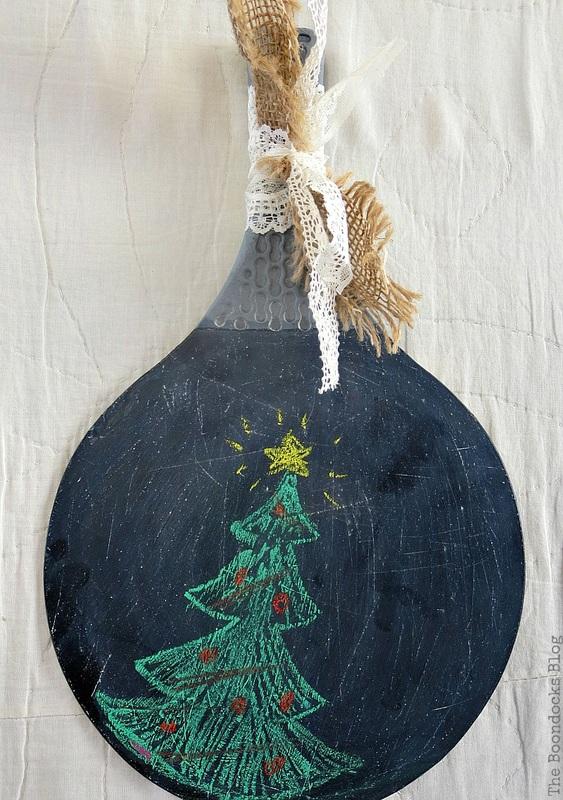 Racket with chalk drawn christmas tree, Christmas in July - Repurposed Barbie Paddles www.theboondocksblog.com