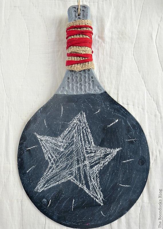 Racket with star on blackboard, Christmas in July - Repurposed Barbie Paddles www.theboondocksblog.com