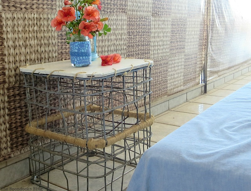A Milk crates used as a table, A Tour of the Balcony, Part 1 www.theboondocksblog.com
