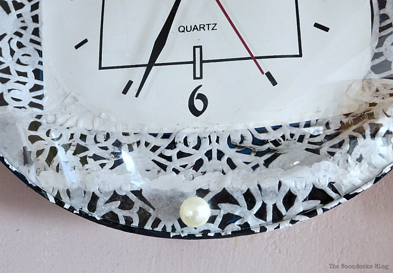 The bottom with a faux pearl, Five Minutes to a Pretty Clock www.theboondocksblog.com