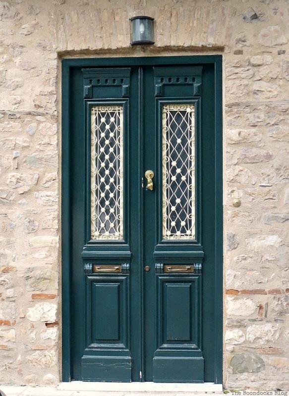 Green door with white trim, Doors and a Sorta Blogoversary www.theboondocksblog.com