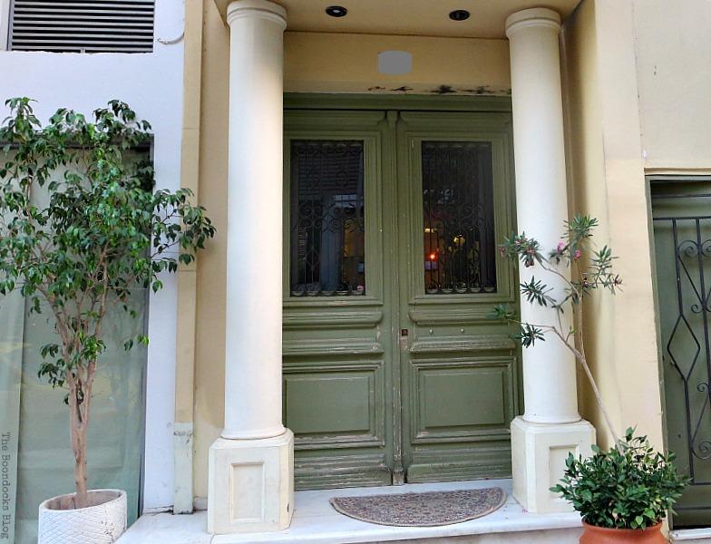 Green door with columns, Doors and a Sorta Blogoversary www.theboondocksblog.com