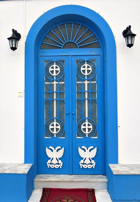 Blue metal church door, Doors and a Sorta Blogoversary www.theboondocksblog.com