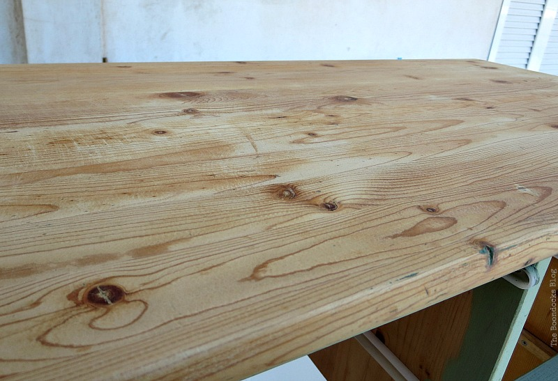 Top is sanded and waxed, How to save an Ikea Pine Dresser www.theboondocksblog.com