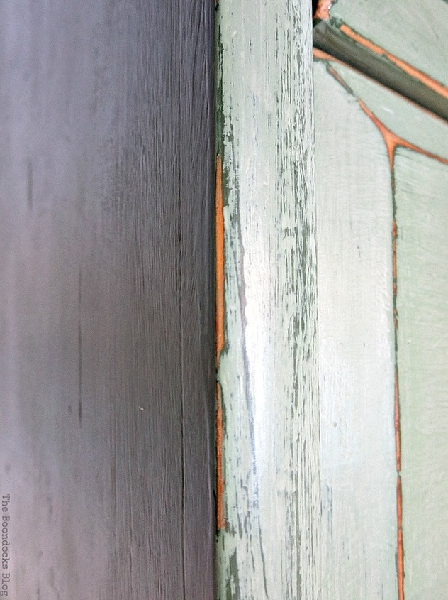 Close up showing green and wood under the paint, How to save an Ikea Pine Dresser www.theboondocksblog.com
