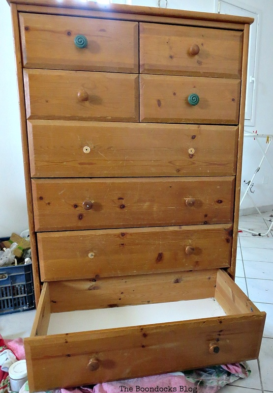 Before, How to save an Ikea Pine Dresser www.theboondocksblog.com