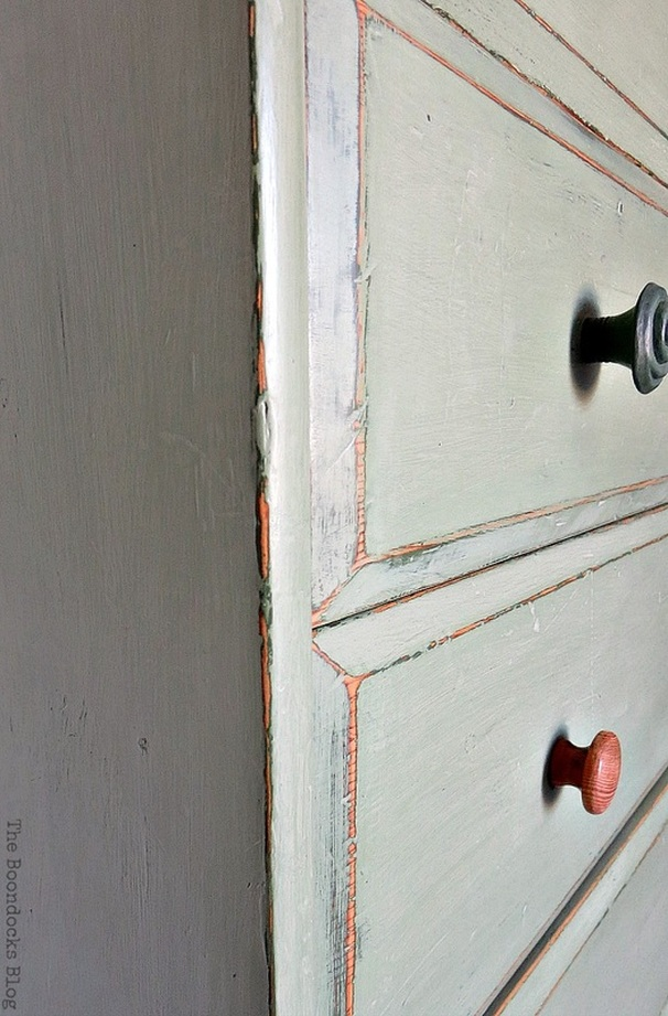 close up of distressing, How to save an Ikea Pine Dresser www.theboondocksblog.com
