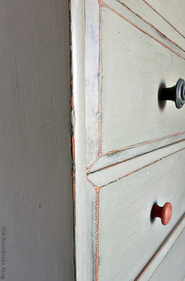 close up of distressing, How to save an Ikea Pine Dresser www.theboondocksblog.com