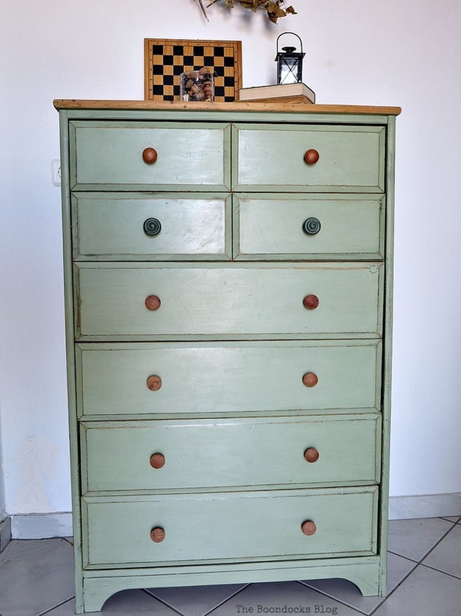 Finished dresser with 2 colors of chalk paint, wax and distressing, How to save an Ikea Pine Dresser www.theboondocksblog.com