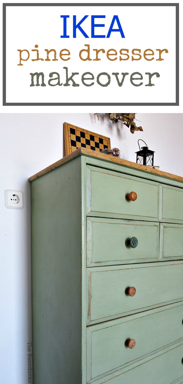 Finished IKEA pine dresser with 2 colors of chalk paint, wax and distressing, #ikeadresser #pinedresser #pinefurniture #furnituremakeover #upcycledfurniture #chalkyfinishpaint How to save an Ikea Pine Dresser www.theboondocksblog.com