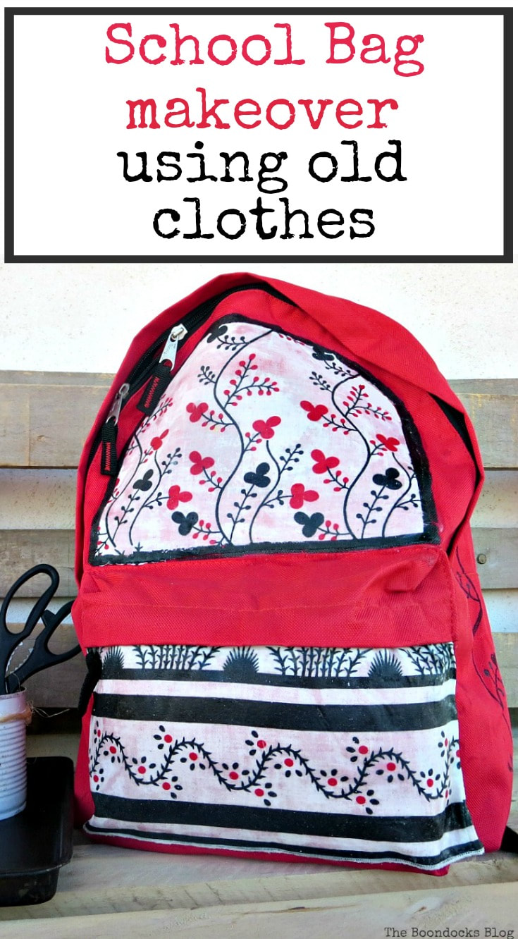 How to makeover a childish schoolbag for a teen using an old dress that is repurposed. Old Clothes upcycled for a school bag makeover #schoolbag #backtoschool #schoolbagupcycle #oldclothesrepurpose #upcycle #repurpose School Bag Makeover using Old Clothes www.theboondocksblog.com