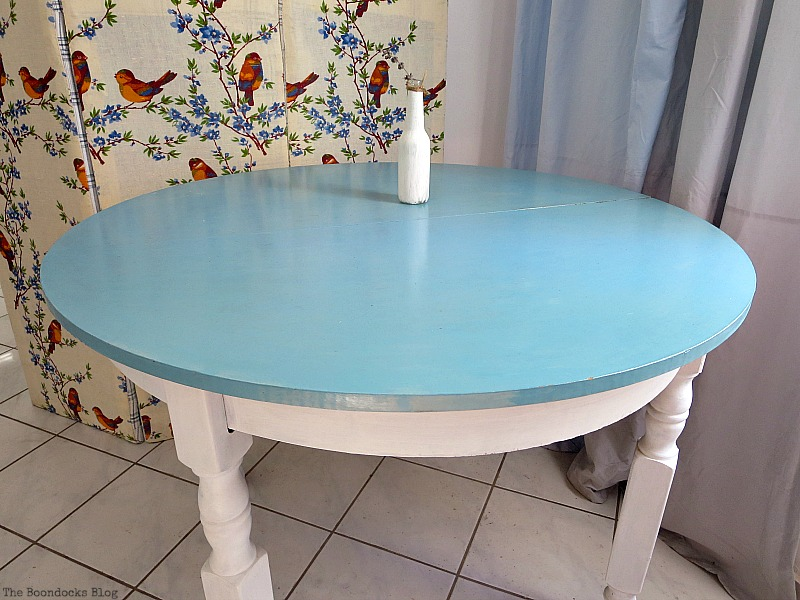 The Greek Beach table with varnish on top, The Doily Top Side Table www.theboondocksblog.com