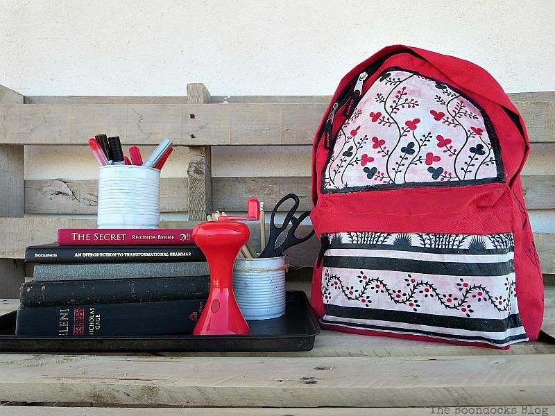 The finished bag, School Bag Makeover, Int'l Bloggers Club Challenge www.theboondocksblog.com
