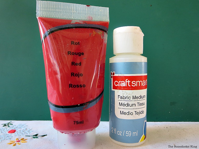 acrylic paint and fabric medium, School Bag Makeover, Int'l Bloggers Club Challenge www.theboondocksblog.com