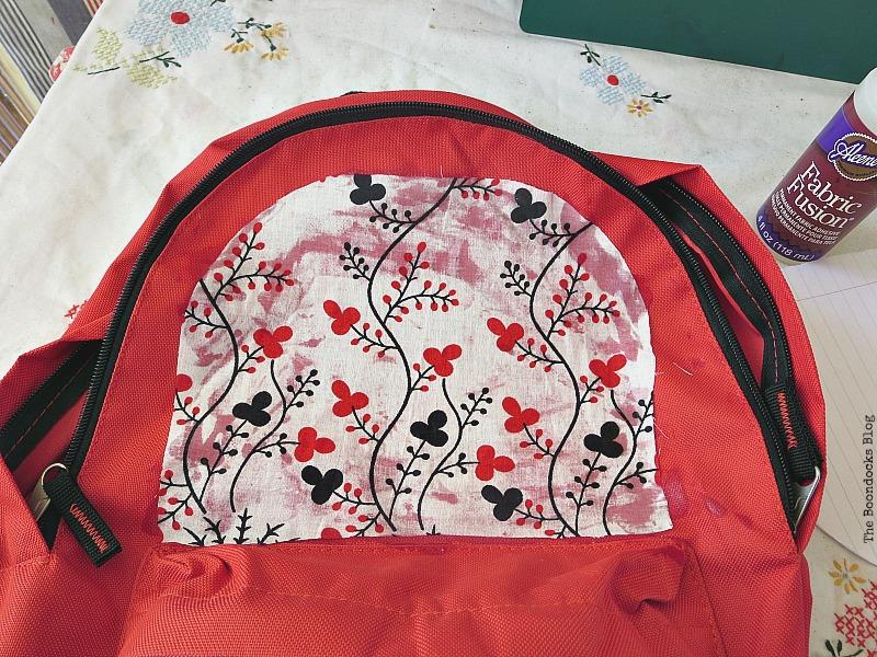 glueing the fabric, School Bag Makeover, Int'l Bloggers Club Challenge www.theboondocksblog.com