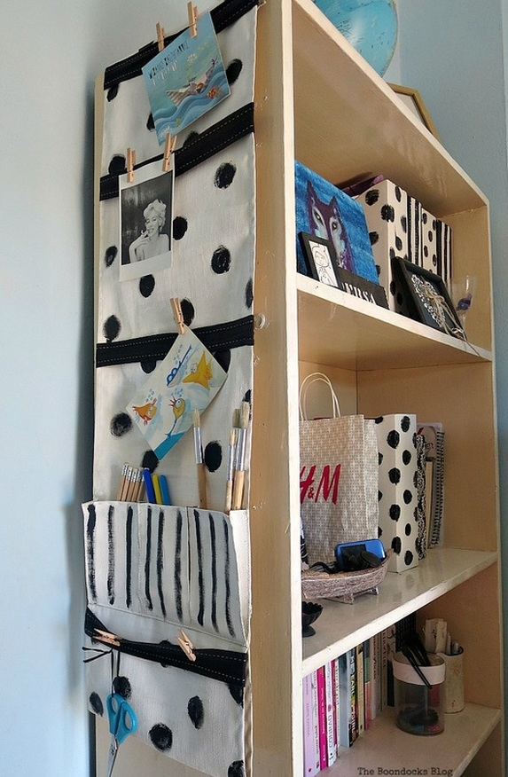 The organizer hanging on the side of the bookcase, How to make a back to school hanging organizer, Back to School blog Hop www.theboondocksblog.com