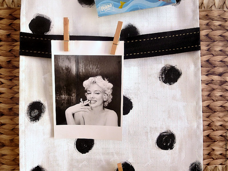 Detail in the center with Marilyn photo, How to make a back to school hanging organizer, Back to School blog Hop www.theboondocksblog.com