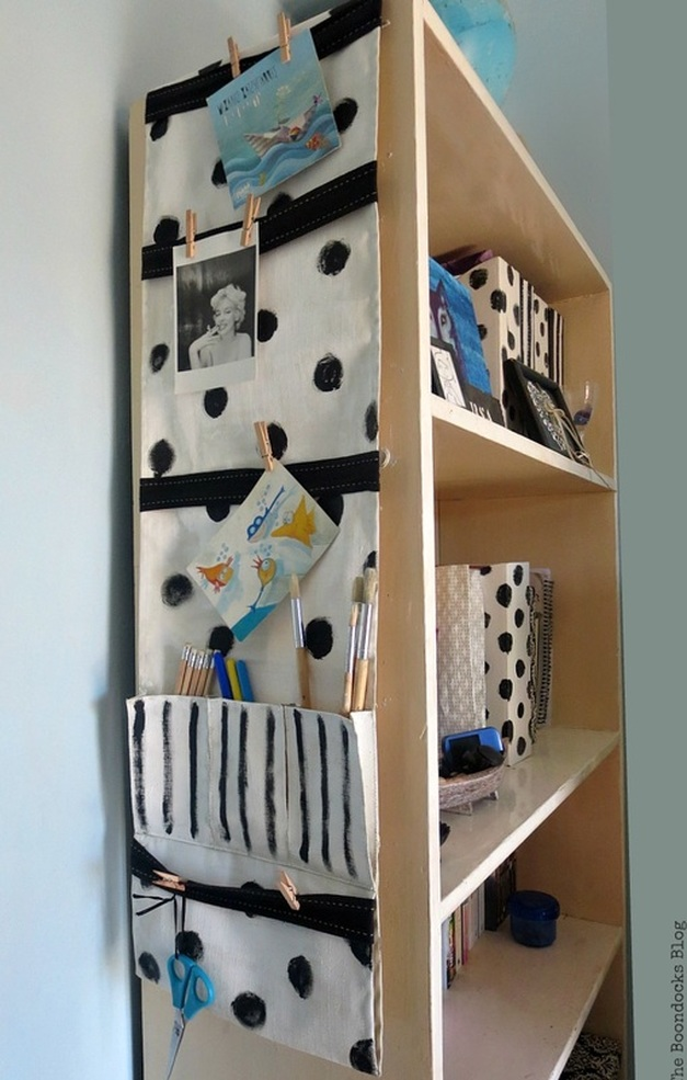A repurposed remote control pocket into a hanging organizer, How to make a back to school hanging organizer, Back to School blog Hop www.theboondocksblog.com