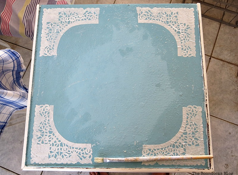 Decoupaged doily pieces, The Doily Top Side Table www.theboondocksblog.com