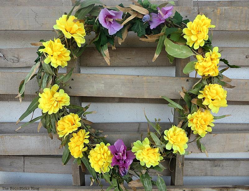 Almost done wreath, Easy Fall Wreath Int'l Bloggers Club www.theboondocksblog.com