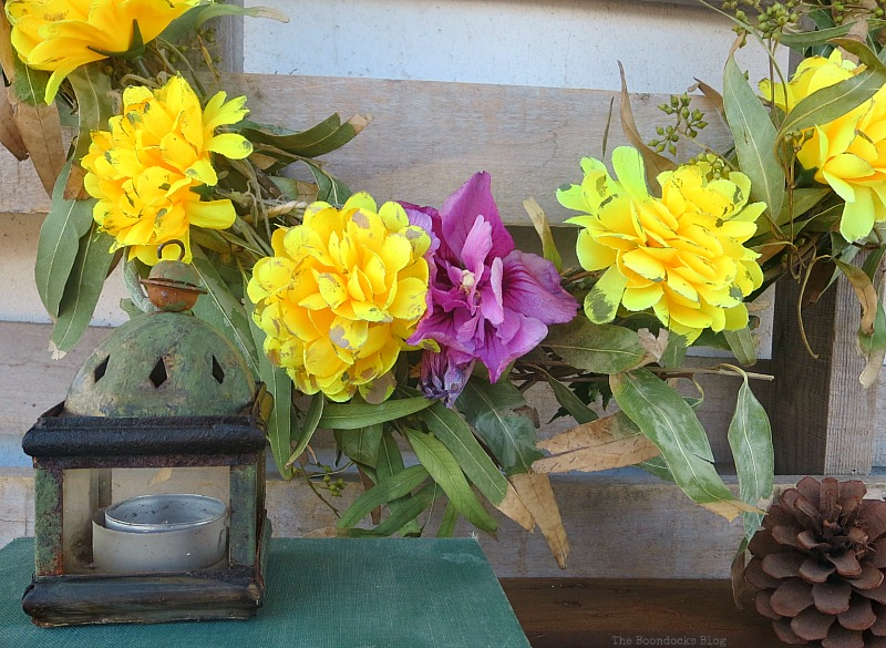 Yellow flowers next to purple, Easy Fall Wreath Int'l Bloggers Club www.theboondocksblog.com