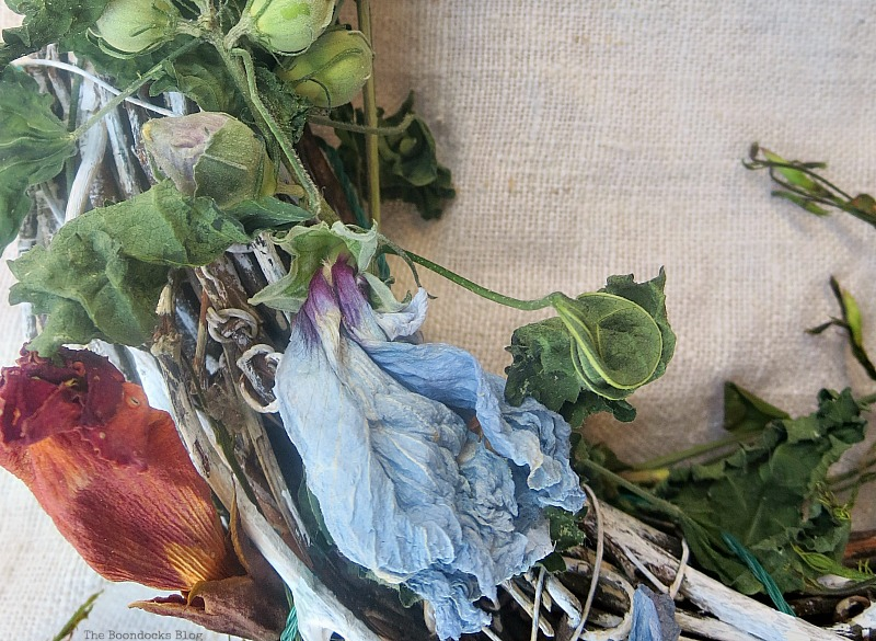 Blue dried flowers on a wreath, The Autumn of my Life www.theboondocksblog.com